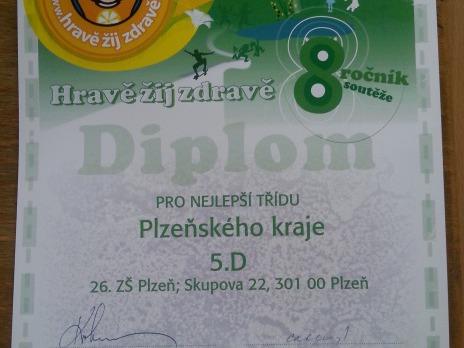 1. místo v Plzeňském kraji pro 5. D