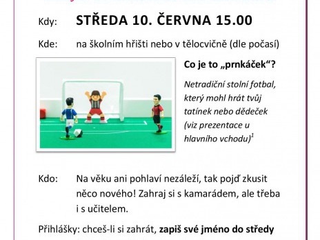Pozvánka na turnaj v netradičním stolní fotbalu - Prnkáček